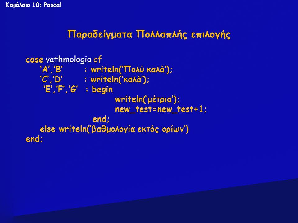 Κεφάλαιο 10: Pascal Παραδείγματα Πολλαπλής επιλογής case vathmologia of 'A','B' : writeln('Πολύ καλά'); 'C','D' : writeln('καλά'); 'Ε','F','G' : begin