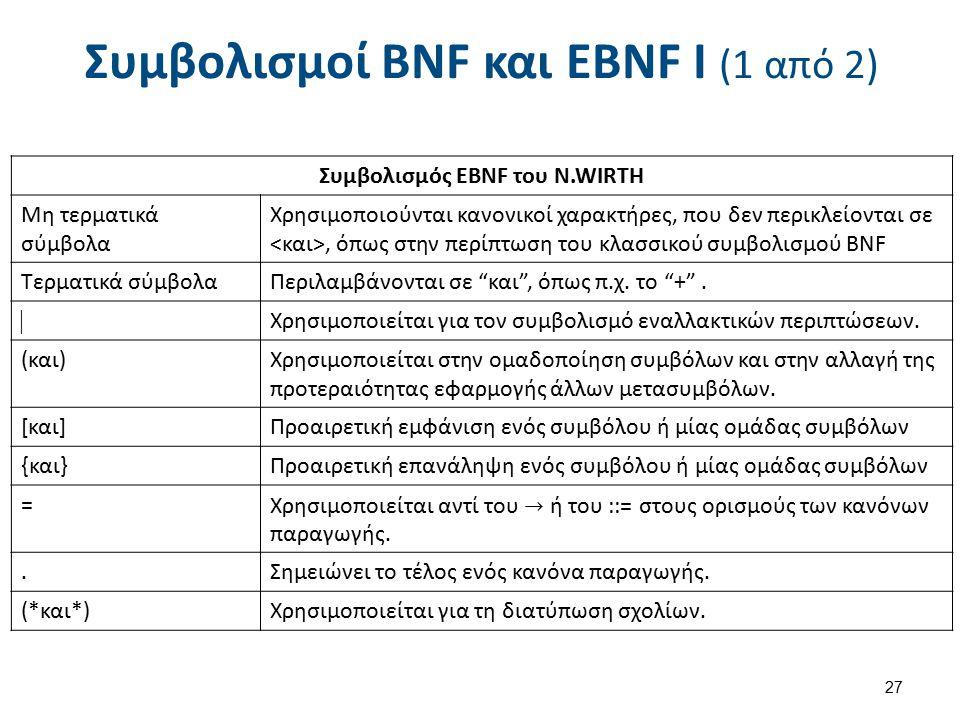 Συμβολισμοί BNF και EBNF I (1 από 2) Συμβολισμός EBNF του N.WIRTH Μη τερματικά σύμβολα Χρησιμοποιούνται κανονικοί χαρακτήρες, που δεν περικλείονται σε