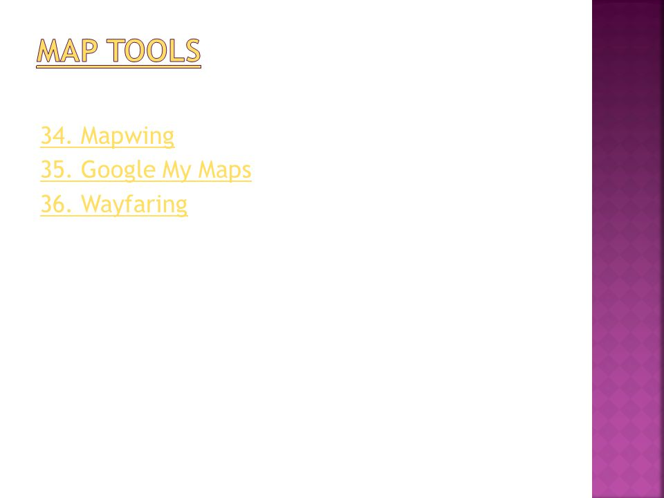 34. Mapwing 35. Google My Maps 36. Wayfaring