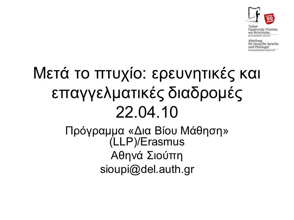 Μετά το πτυχίο: ερευνητικές και επαγγελματικές διαδρομές 22.04.10 Πρόγραμμα «Δια Βίου Μάθηση» (LLP)/Erasmus Αθηνά Σιούπη sioupi@del.auth.gr