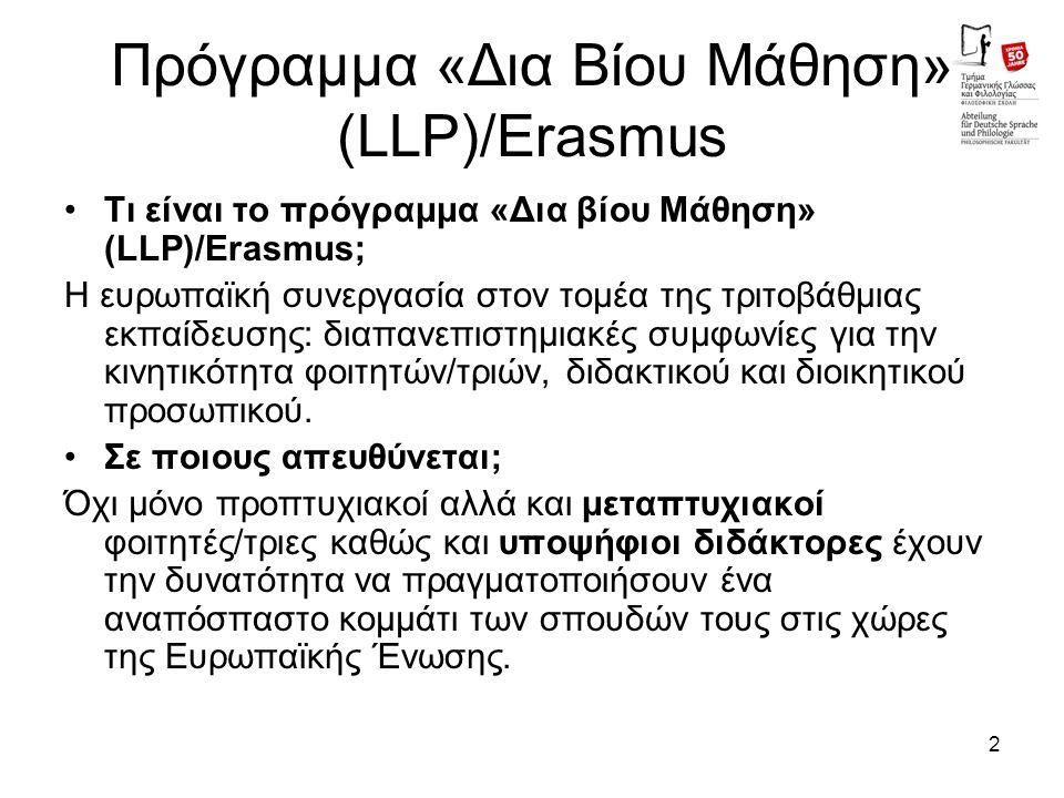 2 Πρόγραμμα «Δια Βίου Μάθηση» (LLP)/Erasmus Τι είναι το πρόγραμμα «Δια βίου Μάθηση» (LLP)/Erasmus; Η ευρωπαϊκή συνεργασία στον τομέα της τριτοβάθμιας εκπαίδευσης: διαπανεπιστημιακές συμφωνίες για την κινητικότητα φοιτητών/τριών, διδακτικού και διοικητικού προσωπικού.