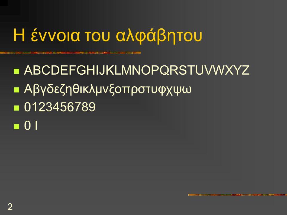 2 Η έννοια του αλφάβητου ABCDEFGHIJKLMNOPQRSTUVWXYZ Αβγδεζηθικλμνξοπρστυφχψω 0123456789 0 I