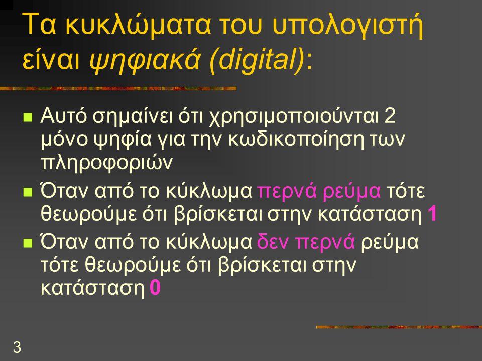 3 Τα κυκλώματα του υπολογιστή είναι ψηφιακά (digital): Αυτό σημαίνει ότι χρησιμοποιούνται 2 μόνο ψηφία για την κωδικοποίηση των πληροφοριών Όταν από τ
