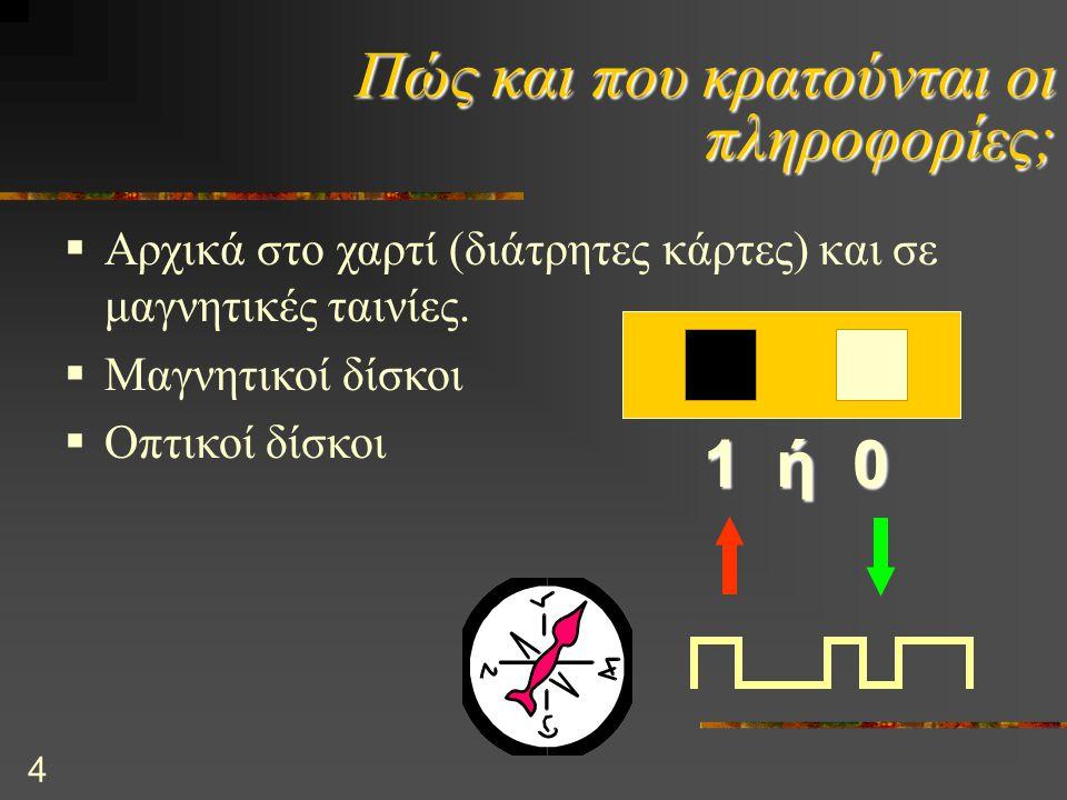 5 Αποθήκευση πληροφοριών Ένα Bit είναι στοιχειώδης μονάδα που κρατάει πληροφορία.