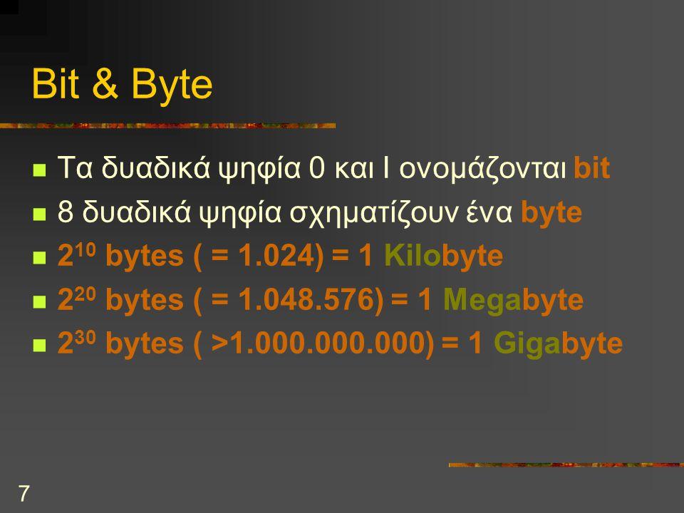 7 Bit & Byte Τα δυαδικά ψηφία 0 και I ονομάζονται bit 8 δυαδικά ψηφία σχηματίζουν ένα byte 2 10 bytes ( = 1.024) = 1 Kilobyte 2 20 bytes ( = 1.048.576