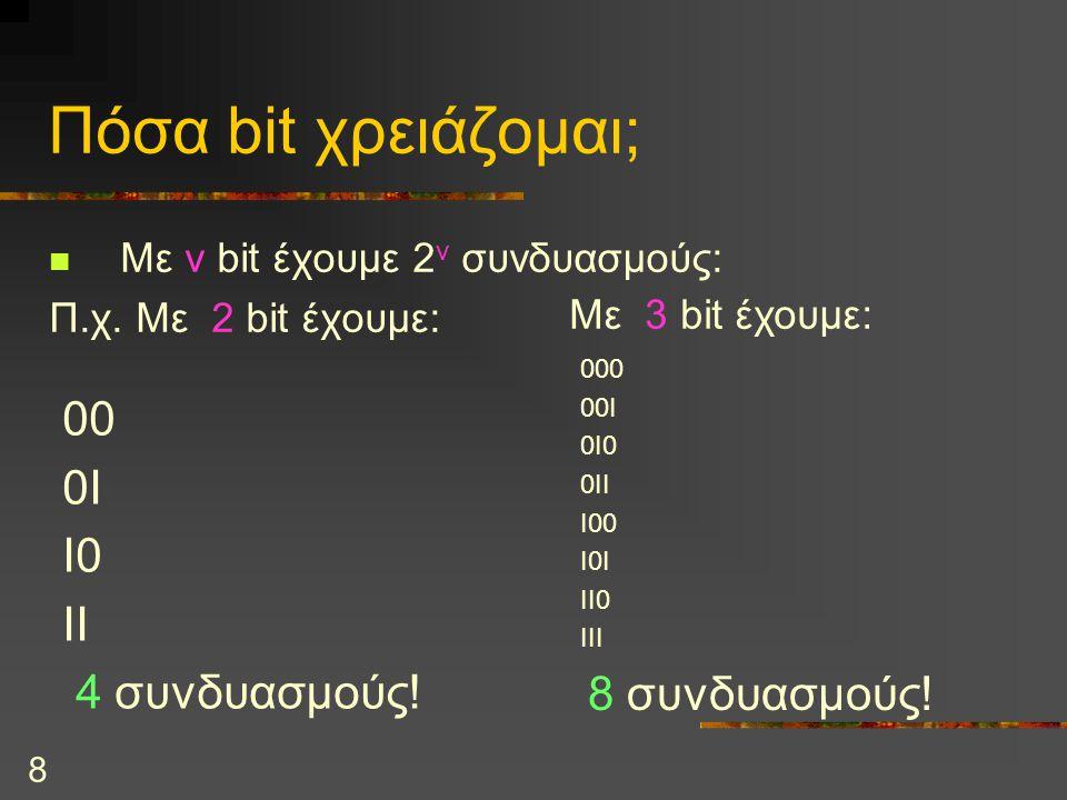 8 Πόσα bit χρειάζομαι; Με ν bit έχουμε 2 ν συνδυασμούς: Π.χ. Με 2 bit έχουμε: 00 0I I0 II 4 συνδυασμούς! Με 3 bit έχουμε: 000 00Ι 0Ι0 0ΙΙ Ι00 Ι0Ι ΙΙ0