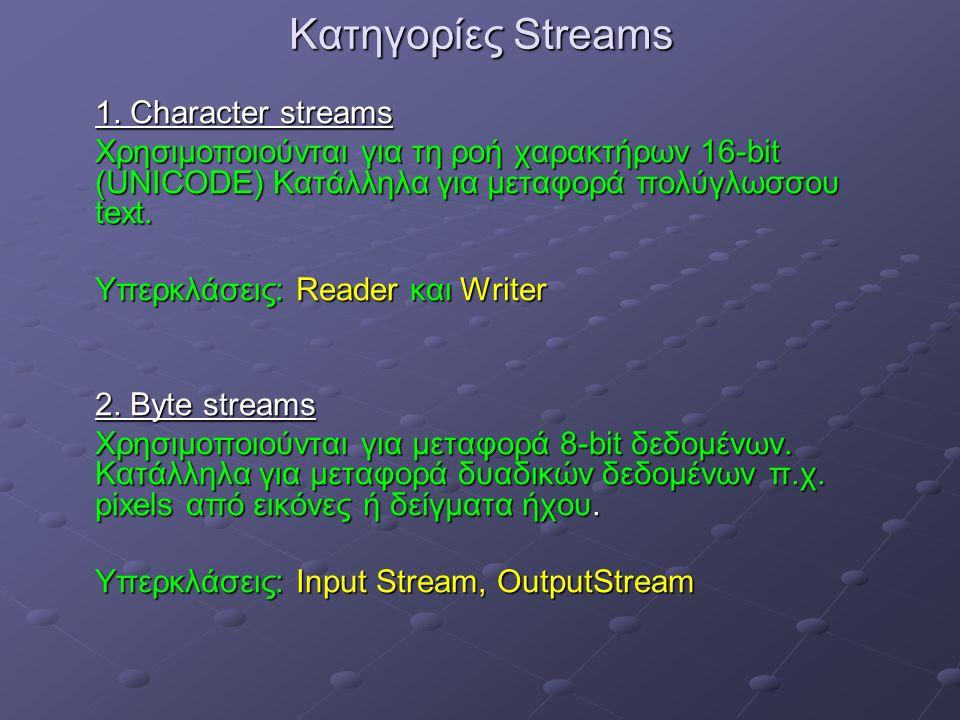 Κατηγορίες Streams 1.