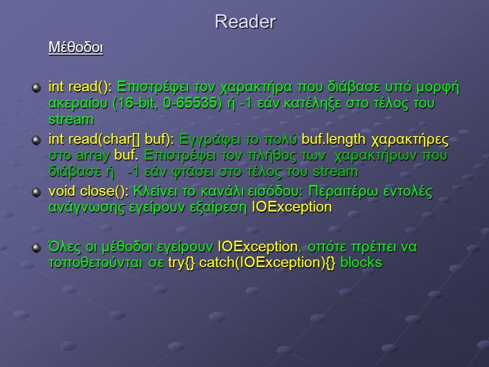 ReaderΜέθοδοι int read(): Επιστρέφει τον χαρακτήρα που διάβασε υπό μορφή ακεραίου (16-bit, 0-65535) ή -1 εάν κατέληξε στο τέλος του stream int read(char[] buf): Εγγράφει το πολύ buf.length χαρακτήρες στο array buf.