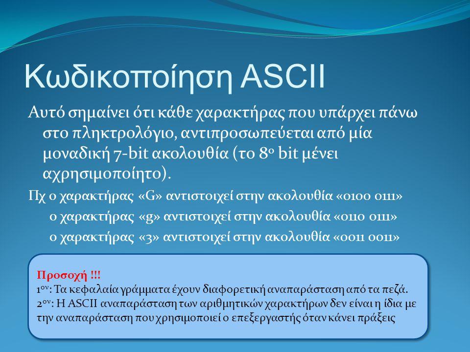 Κωδικοποίηση ASCII Ο ASCII (American Standard Code for Information Interchange, Αμερικανικός Πρότυπος Κώδικας για Ανταλλαγή Πληροφοριών) είναι ένα κωδικοποιημένο σύνολο χαρακτήρων του λατινικού αλφάβητου όπως αυτό χρησιμοποιείται σήμερα στην Αγγλική γλώσσα και σε άλλες δυτικοευρωπαικές γλώσσες.