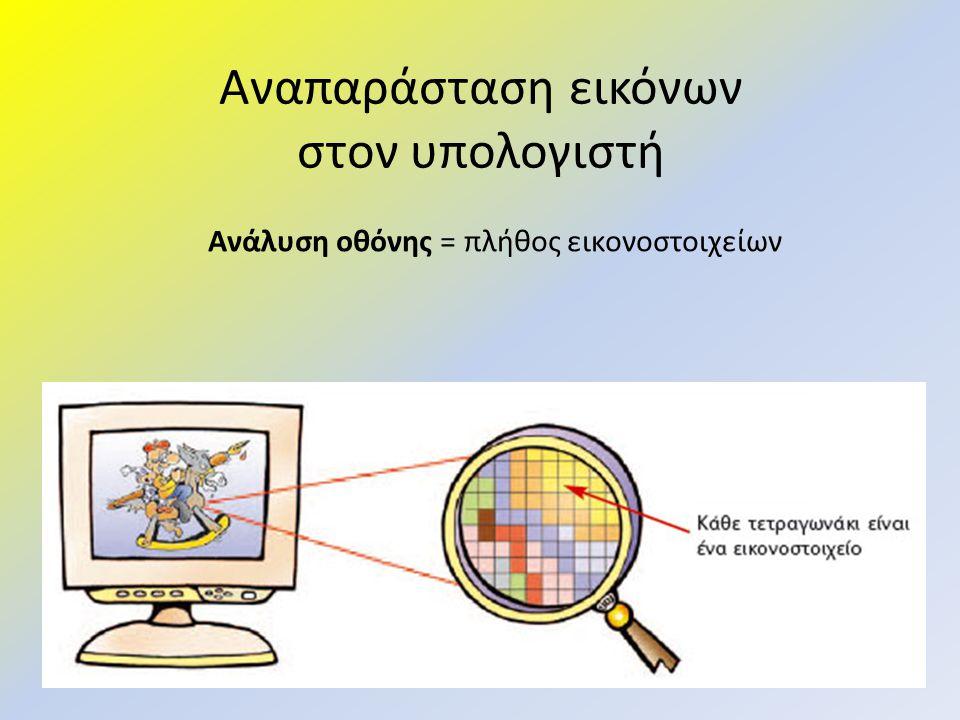 Αναπαράσταση εικόνων στον υπολογιστή Ανάλυση οθόνης = πλήθος εικονοστοιχείων