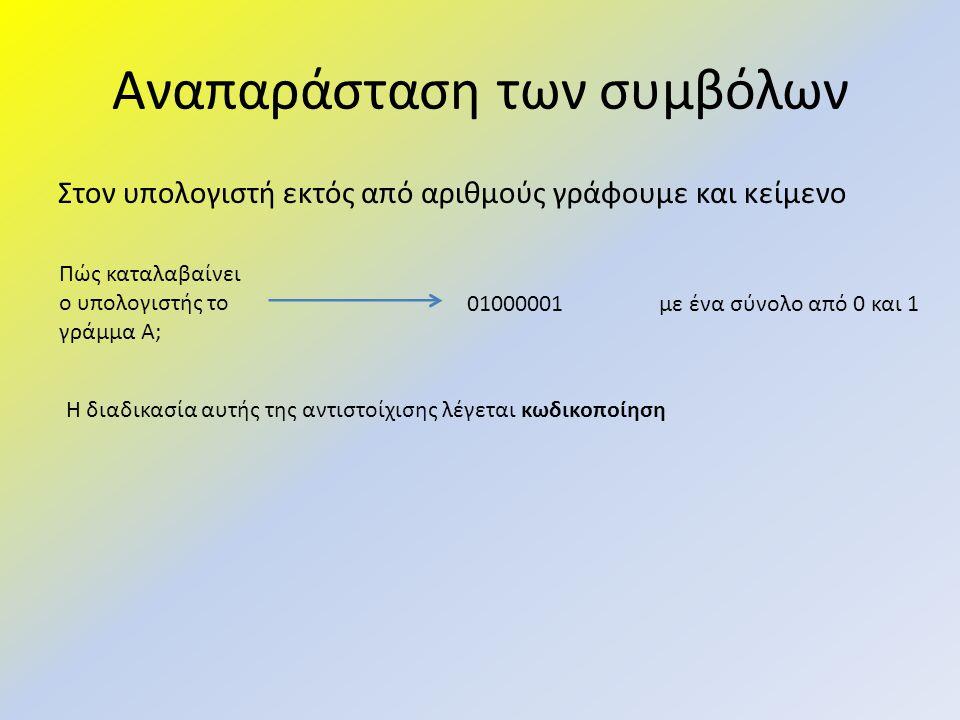 Αναπαράσταση των συμβόλων Στον υπολογιστή εκτός από αριθμούς γράφουμε και κείμενο Πώς καταλαβαίνει ο υπολογιστής το γράμμα Α; 01000001 με ένα σύνολο α