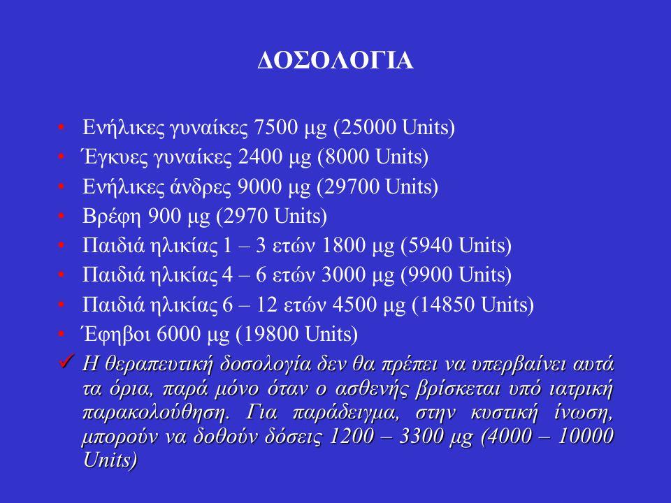 ΔΟΣΟΛΟΓΙΑ Ενήλικες γυναίκες 7500 μg (25000 Units) Έγκυες γυναίκες 2400 μg (8000 Units) Ενήλικες άνδρες 9000 μg (29700 Units) Βρέφη 900 μg (2970 Units)