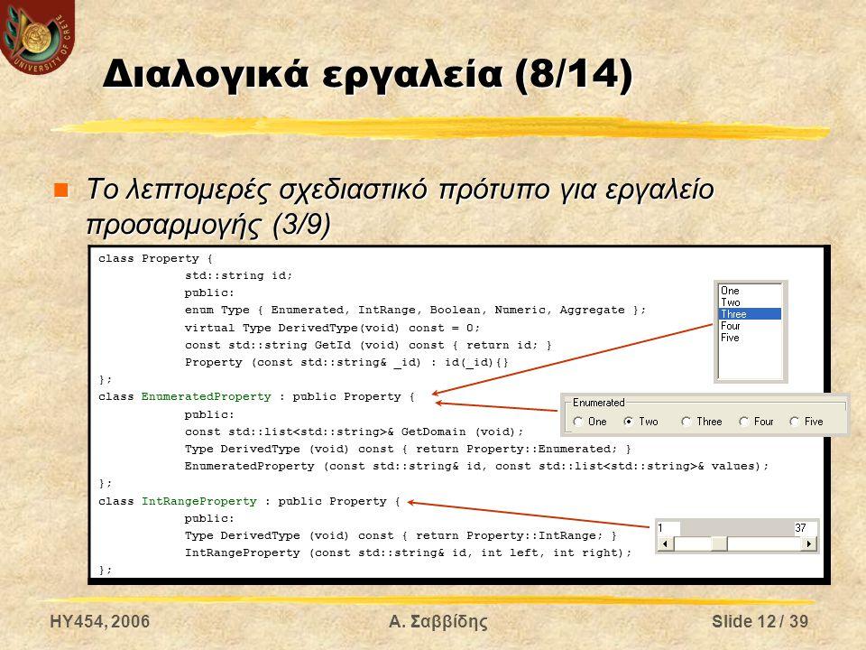 HY454, 2006Α. ΣαββίδηςSlide 12 / 39 Διαλογικά εργαλεία (8/14) Το λεπτομερές σχεδιαστικό πρότυπο για εργαλείο προσαρμογής (3/9) Το λεπτομερές σχεδιαστι