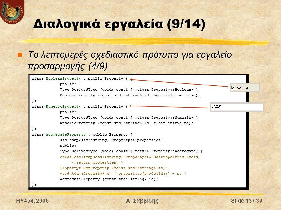 HY454, 2006Α. ΣαββίδηςSlide 13 / 39 Διαλογικά εργαλεία (9/14) Το λεπτομερές σχεδιαστικό πρότυπο για εργαλείο προσαρμογής (4/9) Το λεπτομερές σχεδιαστι