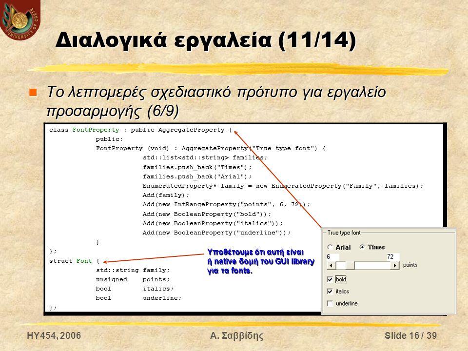 HY454, 2006Α. ΣαββίδηςSlide 16 / 39 Διαλογικά εργαλεία (11/14) Το λεπτομερές σχεδιαστικό πρότυπο για εργαλείο προσαρμογής (6/9) Το λεπτομερές σχεδιαστ
