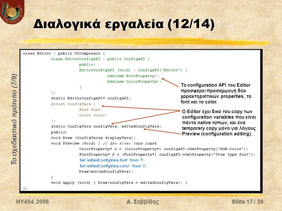 HY454, 2006Α. ΣαββίδηςSlide 17 / 39 Διαλογικά εργαλεία (12/14) class Editor : public UIComponent { class EditorConfigAPI : public ConfigAPI { public:
