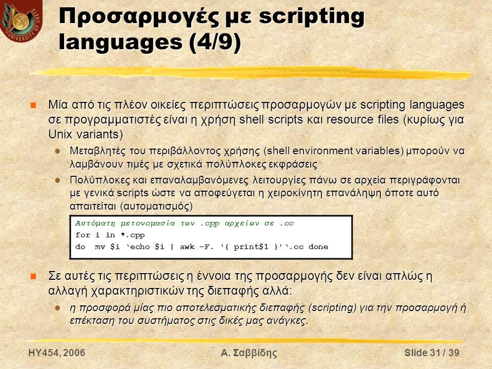 HY454, 2006Α. ΣαββίδηςSlide 31 / 39 Προσαρμογές με scripting languages (4/9) Μία από τις πλέον οικείες περιπτώσεις προσαρμογών με scripting languages