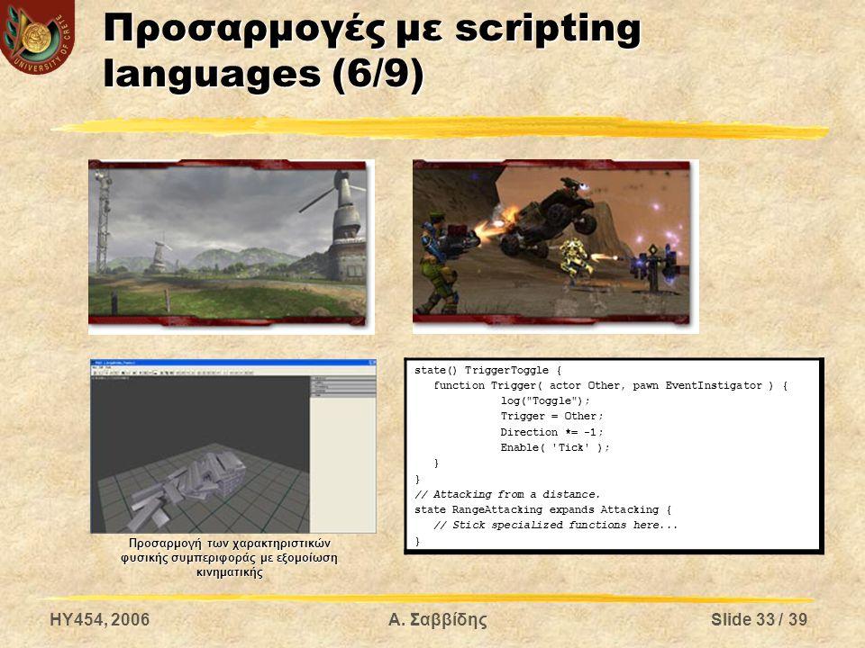 HY454, 2006Α. ΣαββίδηςSlide 33 / 39 Προσαρμογές με scripting languages (6/9) Προσαρμογή των χαρακτηριστικών φυσικής συμπεριφοράς με εξομοίωση κινηματι