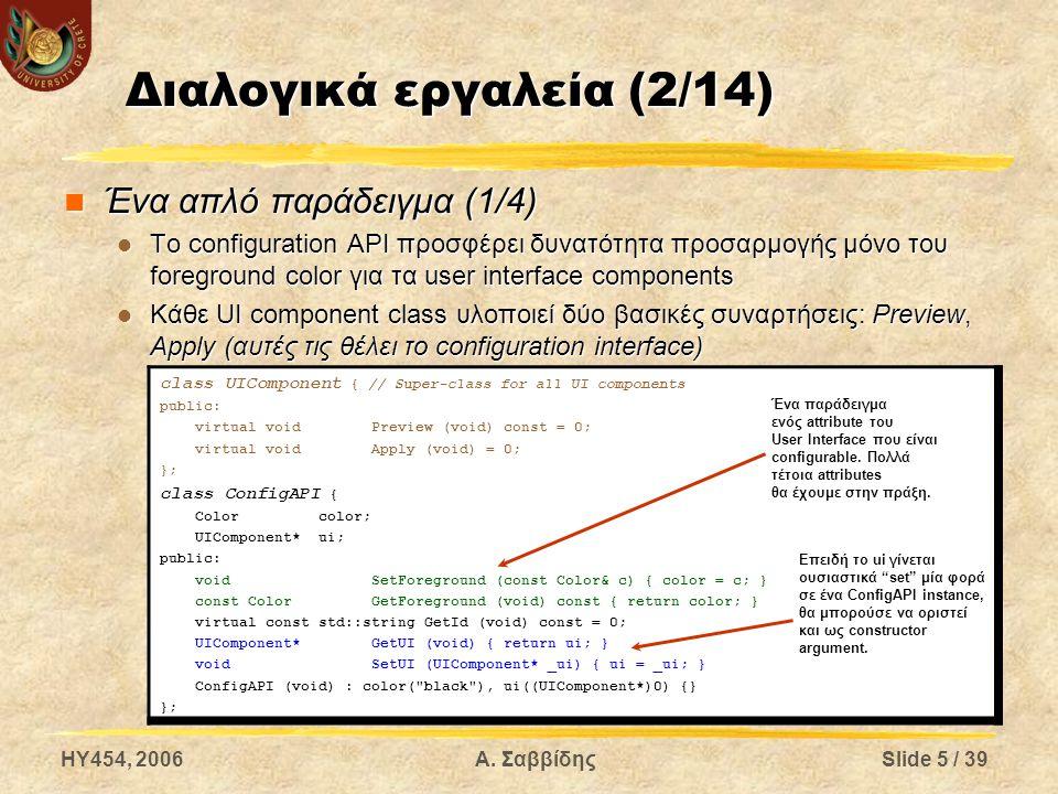 HY454, 2006Α. ΣαββίδηςSlide 5 / 39 Διαλογικά εργαλεία (2/14) Ένα απλό παράδειγμα (1/4) Ένα απλό παράδειγμα (1/4) Το configuration API προσφέρει δυνατό