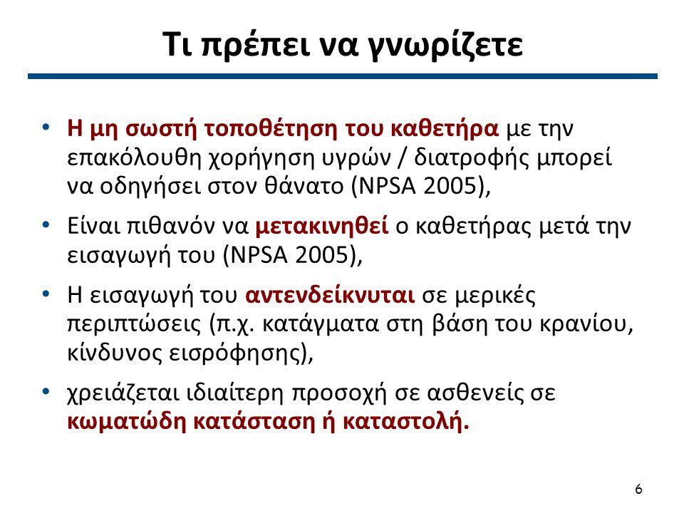 Τι πρέπει να γνωρίζετε Η μη σωστή τοποθέτηση του καθετήρα με την επακόλουθη χορήγηση υγρών / διατροφής μπορεί να οδηγήσει στον θάνατο (NPSA 2005), Είν