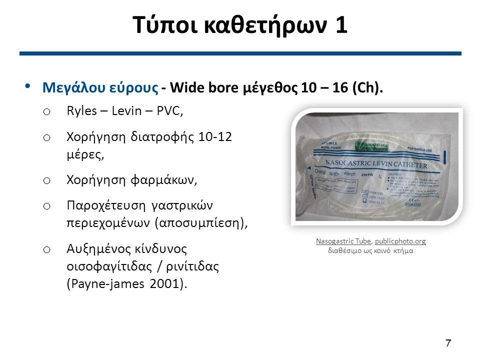 Τύποι καθετήρων 1 Μεγάλου εύρους - Wide bore μέγεθος 10 – 16 (Ch). o Ryles – Levin – PVC, o Χορήγηση διατροφής 10-12 μέρες, o Χορήγηση φαρμάκων, o Παρ