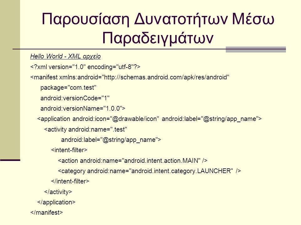 Παρουσίαση Δυνατοτήτων Μέσω Παραδειγμάτων Hello World - XML αρχείο <manifest xmlns:android= http://schemas.android.com/apk/res/android package= com.test android:versionCode= 1 android:versionName= 1.0.0 > <activity android:name= .test android:label= @string/app_name >