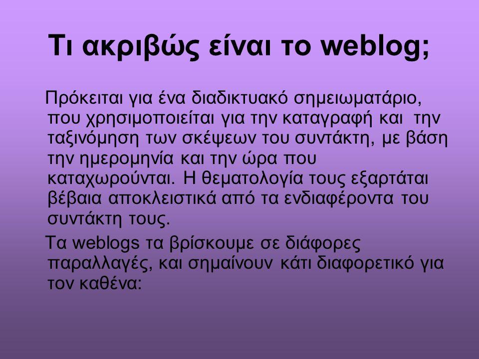 Τι ακριβώς είναι το weblog; Πρόκειται για ένα διαδικτυακό σημειωματάριο, που χρησιμοποιείται για την καταγραφή και την ταξινόμηση των σκέψεων του συντ
