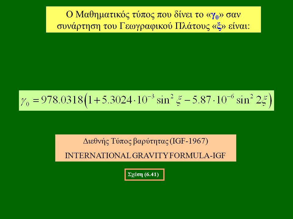 O Μαθηματικός τύπος που δίνει το «γ 0 » σαν συνάρτηση του Γεωγραφικού Πλάτους «ξ» είναι: Σχέση (6.41) Διεθνής Τύπος βαρύτητας (IGF-1967) INTERNATIONAL GRAVITY FORMULA-IGF