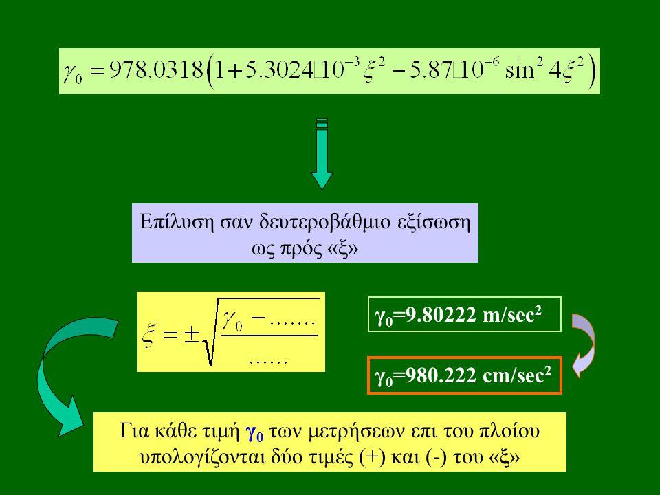 Επίλυση σαν δευτεροβάθμιο εξίσωση ως πρός «ξ» Για κάθε τιμή γ 0 των μετρήσεων επι του πλοίου υπολογίζονται δύο τιμές (+) και (-) του «ξ» γ 0 =9.80222 m/sec 2 γ 0 =980.222 cm/sec 2