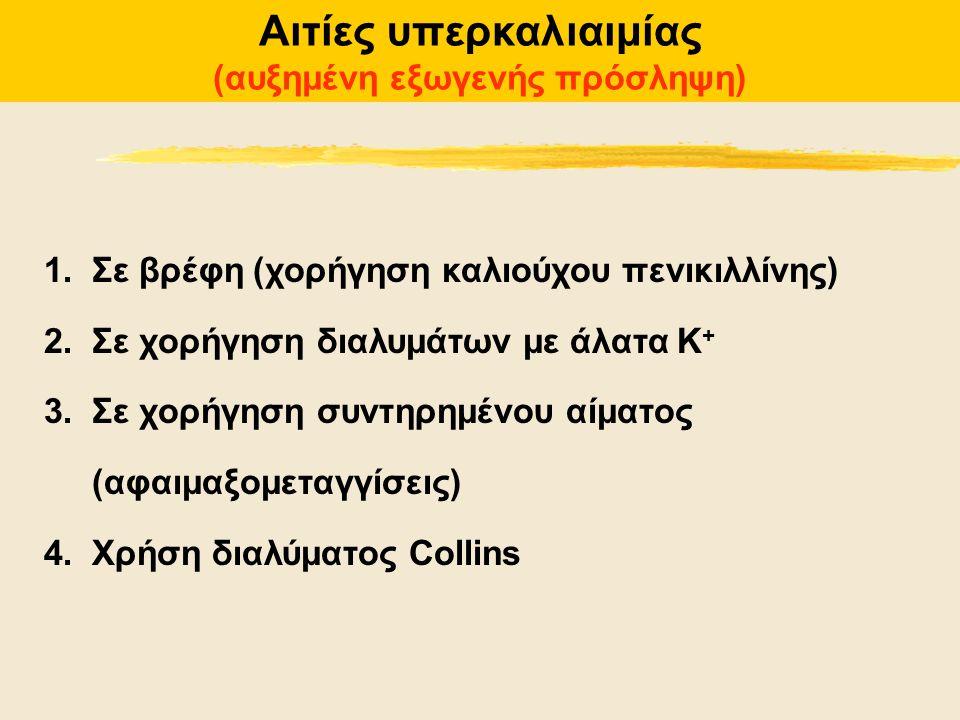 Αιτίες υπερκαλιαιμίας (αυξημένη εξωγενής πρόσληψη) 1.Σε βρέφη (χορήγηση καλιούχου πενικιλλίνης) 2.Σε χορήγηση διαλυμάτων με άλατα Κ + 3.Σε χορήγηση συ