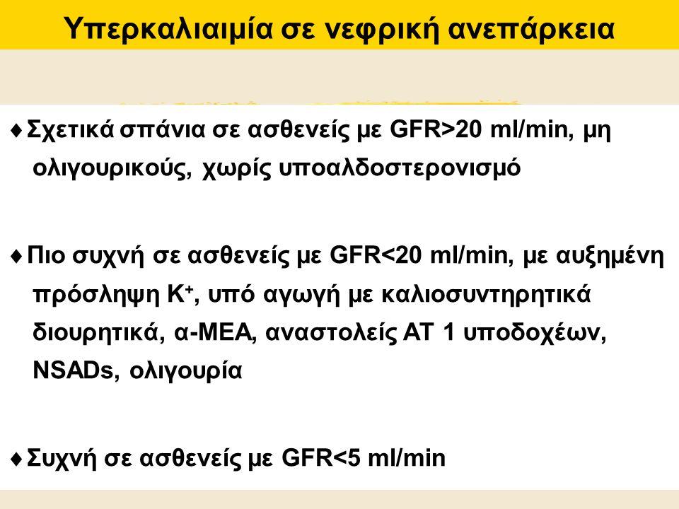 Υπερκαλιαιμία σε νεφρική ανεπάρκεια  Σχετικά σπάνια σε ασθενείς με GFR>20 ml/min, μη ολιγουρικούς, χωρίς υποαλδοστερονισμό  Πιο συχνή σε ασθενείς με
