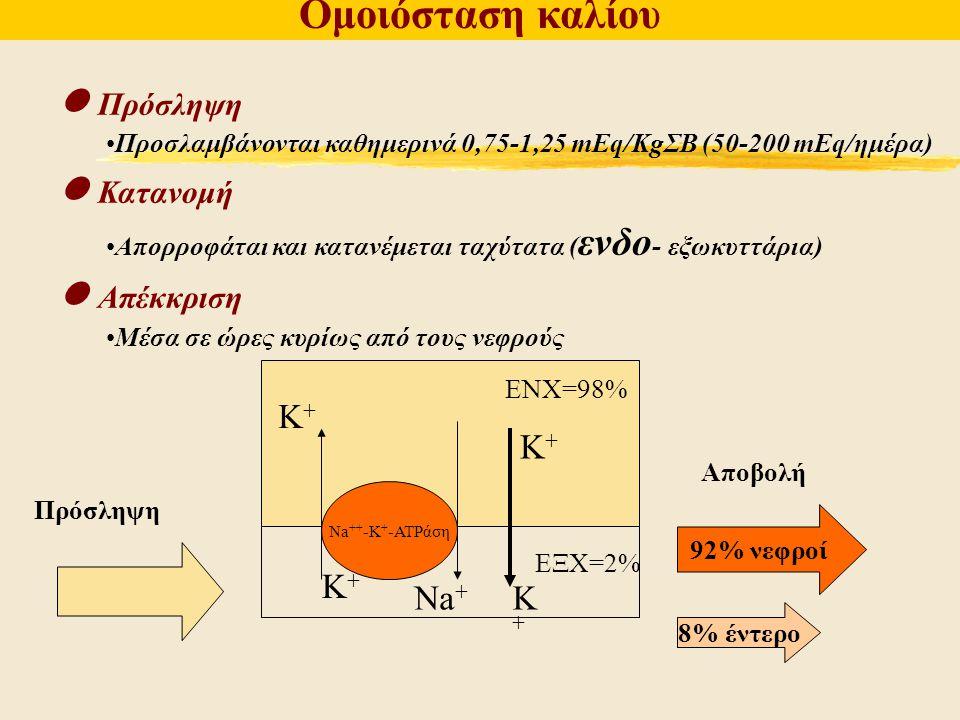Πρόσληψη Προσλαμβάνονται καθημερινά 0,75-1,25 mEq/KgΣΒ (50-200 mEq/ημέρα) Κατανομή Απορροφάται και κατανέμεται ταχύτατα ( ενδο - εξωκυττάρια) Απέκκρισ