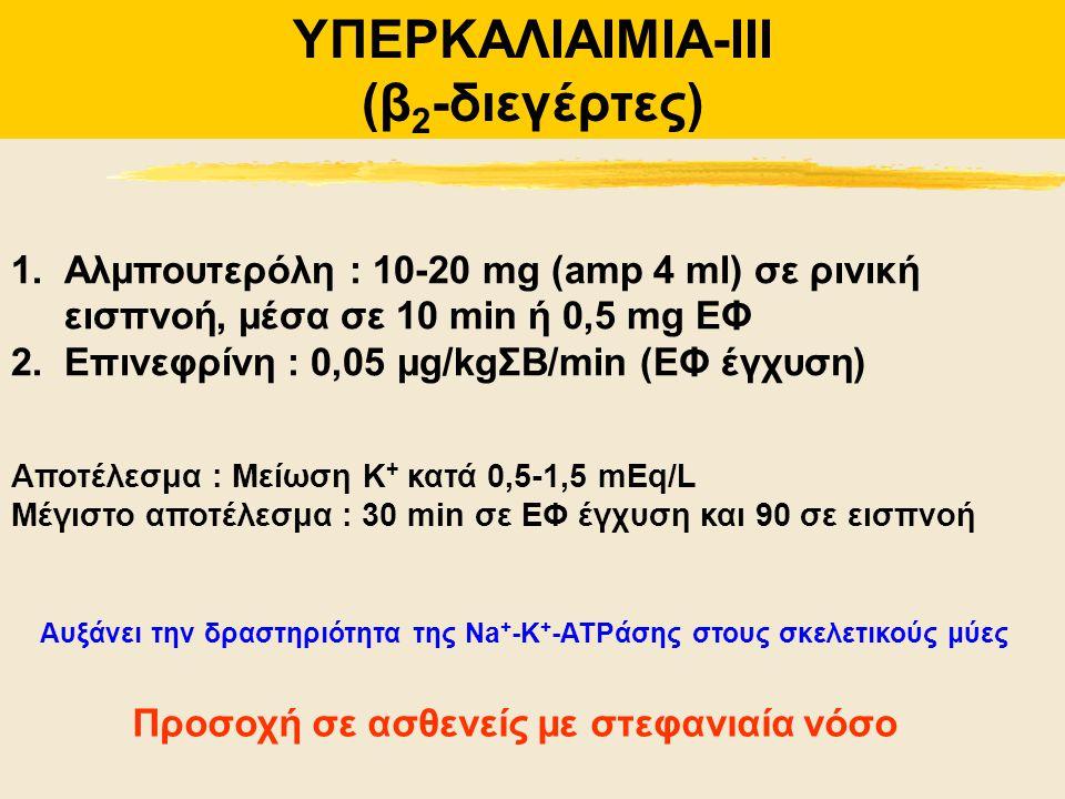 ΥΠΕΡΚΑΛΙΑΙΜΙΑ-IIΙ (β 2 -διεγέρτες) Αυξάνει την δραστηριότητα της Na + -K + -ATPάσης στους σκελετικούς μύες 1.Αλμπουτερόλη : 10-20 mg (amp 4 ml) σε ριν
