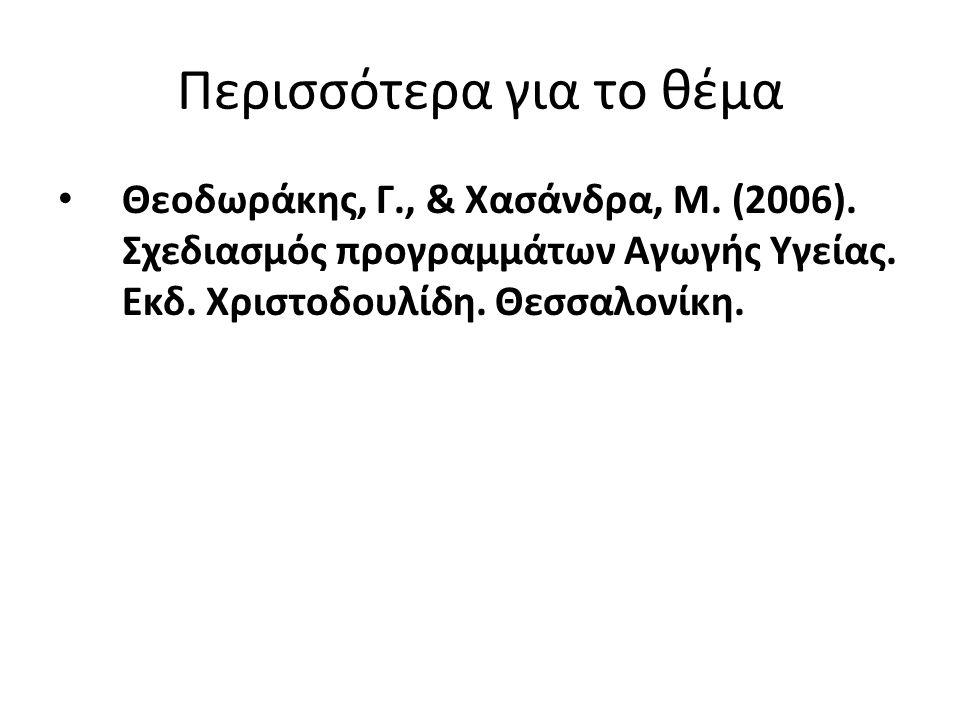 Περισσότερα για το θέμα Θεοδωράκης, Γ., & Χασάνδρα, Μ. (2006). Σχεδιασμός προγραμμάτων Αγωγής Υγείας. Εκδ. Χριστοδουλίδη. Θεσσαλονίκη.