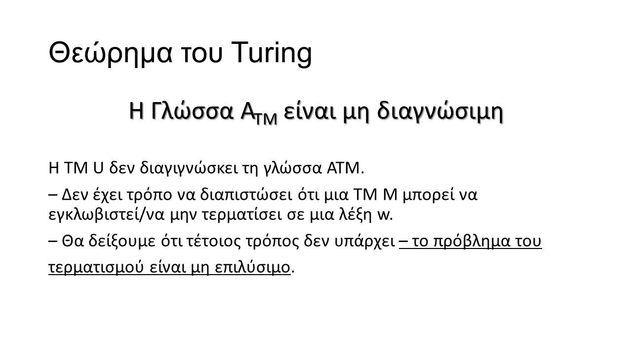 Θεώρημα του Turing Η Γλώσσα Α ΤΜ είναι μη διαγνώσιμη Η ΤΜ U δεν διαγιγνώσκει τη γλώσσα ΑΤΜ. – Δεν έχει τρόπο να διαπιστώσει ότι μια ΤΜ Μ μπορεί να εγκ