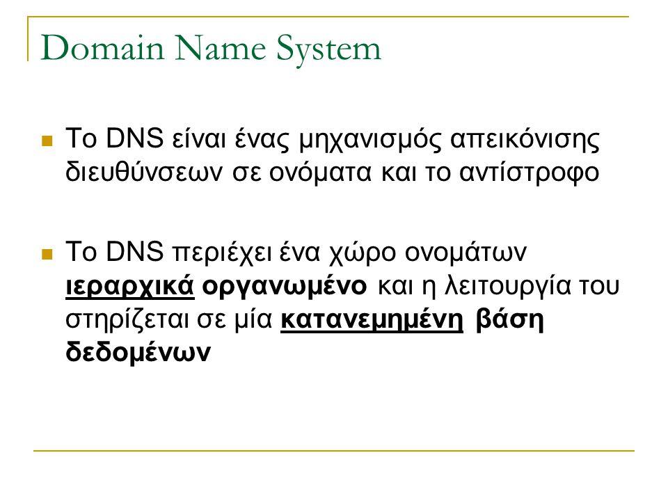 Domain Name System Το DNS είναι ένας μηχανισμός απεικόνισης διευθύνσεων σε ονόματα και το αντίστροφο Το DNS περιέχει ένα χώρο ονομάτων ιεραρχικά οργανωμένο και η λειτουργία του στηρίζεται σε μία κατανεμημένη βάση δεδομένων