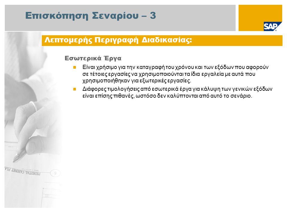 Επισκόπηση Σεναρίου – 3 Εσωτερικά Έργα Είναι χρήσιμο για την καταγραφή του χρόνου και των εξόδων που αφορούν σε τέτοιες εργασίες να χρησιμοποιούνται τα ίδια εργαλεία με αυτά που χρησιμοποιήθηκαν για εξωτερικές εργασίες.
