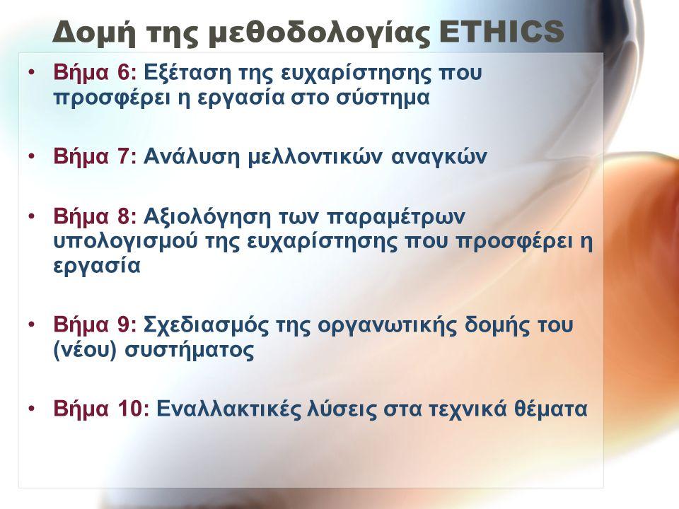 Δομή της μεθοδολογίας ETHICS Βήμα 6: Εξέταση της ευχαρίστησης που προσφέρει η εργασία στο σύστημα Βήμα 7: Ανάλυση μελλοντικών αναγκών Βήμα 8: Αξιολόγηση των παραμέτρων υπολογισμού της ευχαρίστησης που προσφέρει η εργασία Βήμα 9: Σχεδιασμός της οργανωτικής δομής του (νέου) συστήματος Βήμα 10: Εναλλακτικές λύσεις στα τεχνικά θέματα