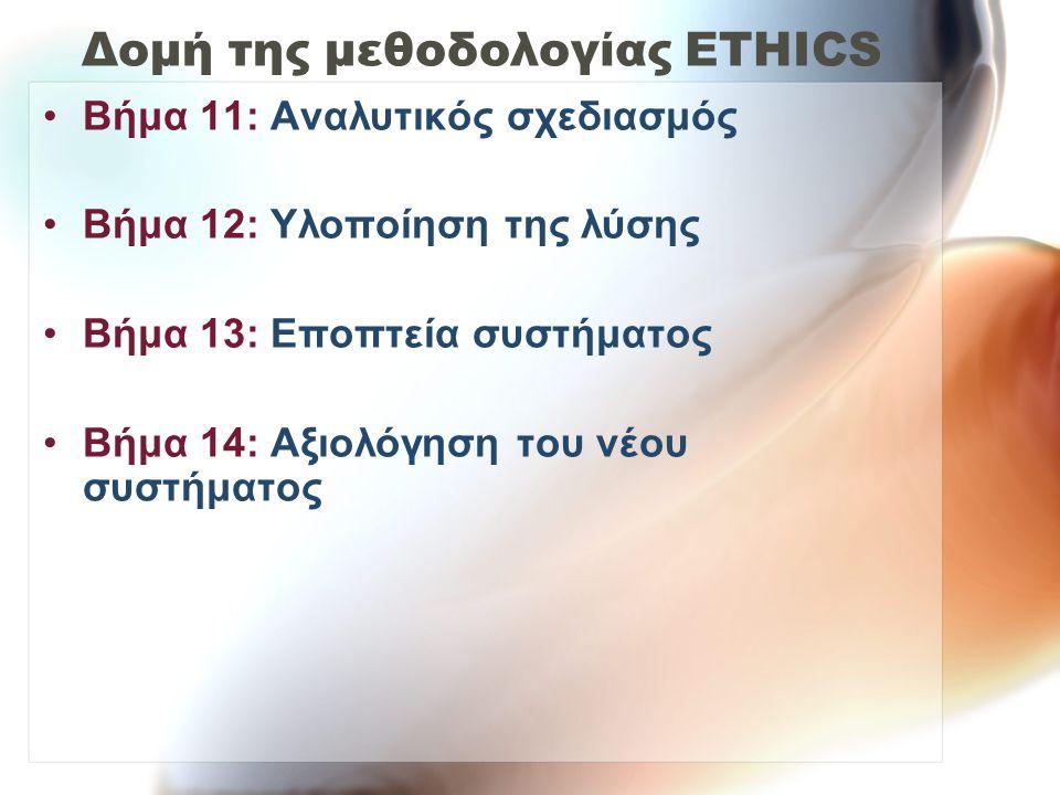 Δομή της μεθοδολογίας ETHICS Βήμα 11: Αναλυτικός σχεδιασμός Βήμα 12: Υλοποίηση της λύσης Βήμα 13: Εποπτεία συστήματος Βήμα 14: Αξιολόγηση του νέου συστήματος