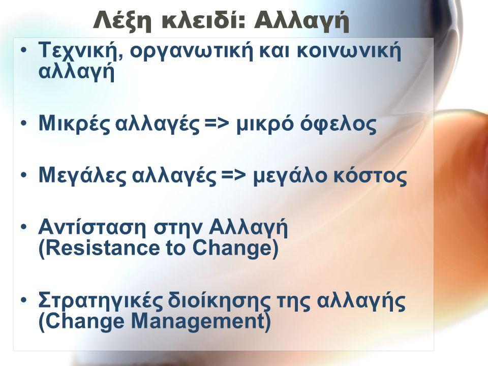Λέξη κλειδί: Αλλαγή Τεχνική, οργανωτική και κοινωνική αλλαγή Μικρές αλλαγές => μικρό όφελος Μεγάλες αλλαγές => μεγάλο κόστος Αντίσταση στην Αλλαγή (Resistance to Change) Στρατηγικές διοίκησης της αλλαγής (Change Management)
