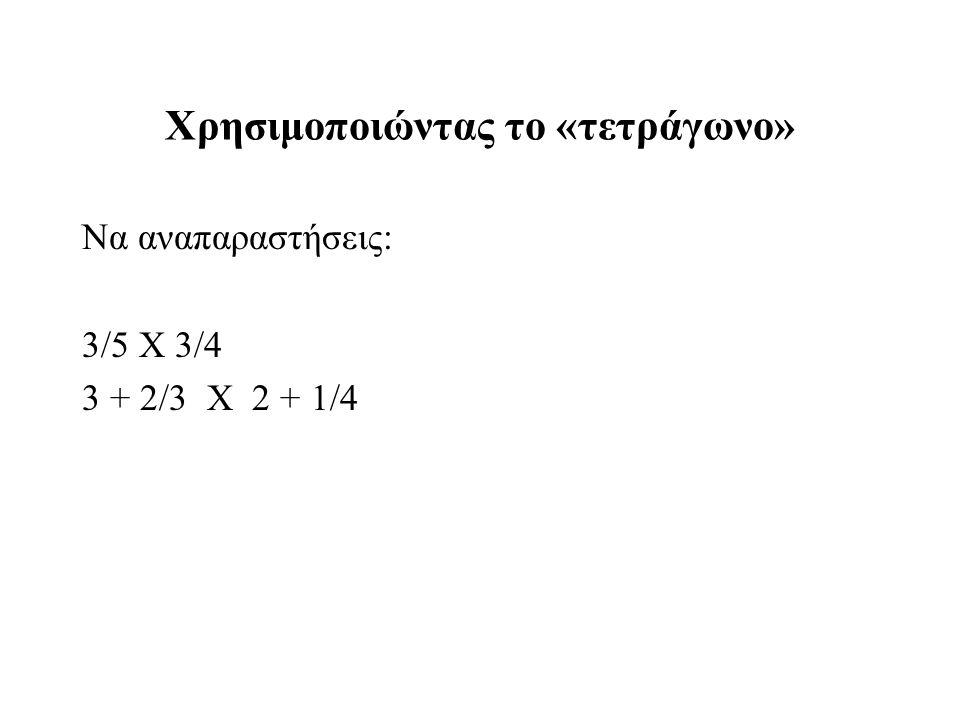 Χρησιμοποιώντας το «τετράγωνο» Να αναπαραστήσεις: 3/5 Χ 3/4 3 + 2/3 Χ 2 + 1/4