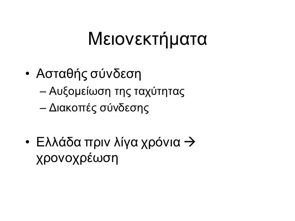 Μειονεκτήματα Ασταθής σύνδεση –Αυξομείωση της ταχύτητας –Διακοπές σύνδεσης Ελλάδα πριν λίγα χρόνια  χρονοχρέωση