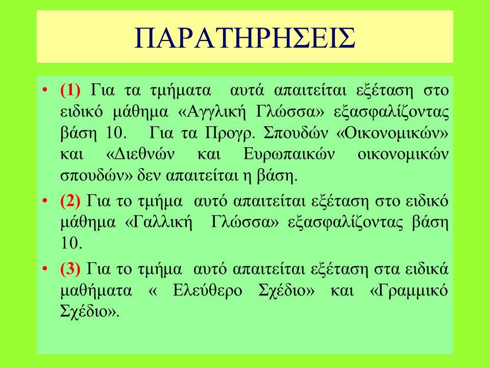 (1) Για τα τμήματα αυτά απαιτείται εξέταση στο ειδικό μάθημα «Αγγλική Γλώσσα» εξασφαλίζοντας βάση 10.
