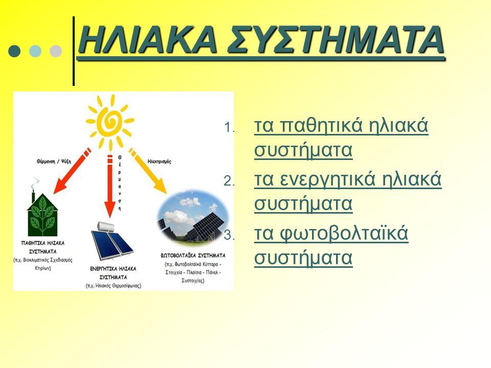 1. τα παθητικά ηλιακά συστήματα 2. τα ενεργητικά ηλιακά συστήματα 3. τα φωτοβολταϊκά συστήματα ΗΛΙΑΚΑ ΣΥΣΤΗΜΑΤΑ