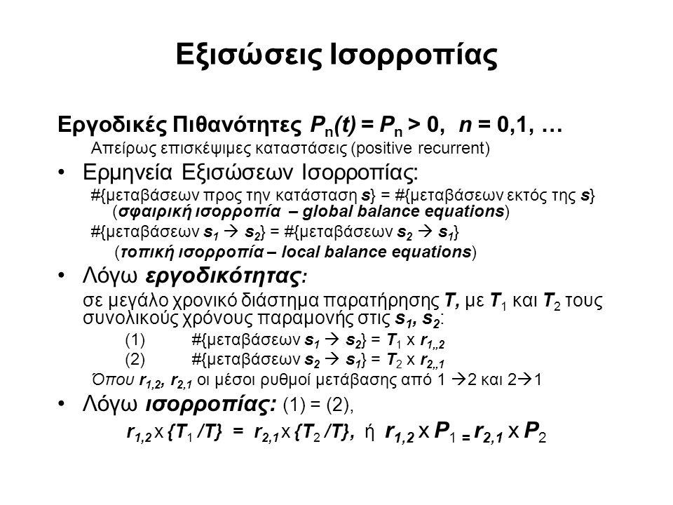Εξισώσεις Ισορροπίας Εργοδικές Πιθανότητες P n (t) = P n > 0, n = 0,1, … Απείρως επισκέψιμες καταστάσεις (positive recurrent) Ερμηνεία Εξισώσεων Ισορροπίας: #{μεταβάσεων προς την κατάσταση s} = #{μεταβάσεων εκτός της s} (σφαιρική ισορροπία – global balance equations) #{μεταβάσεων s 1  s 2 } = #{μεταβάσεων s 2  s 1 } (τοπική ισορροπία – local balance equations) Λόγω εργοδικότητας : σε μεγάλο χρονικό διάστημα παρατήρησης Τ, με Τ 1 και Τ 2 τους συνολικούς χρόνους παραμονής στις s 1, s 2 : (1)#{μεταβάσεων s 1  s 2 } = T 1 x r 1,,2 (2) #{μεταβάσεων s 2  s 1 } = T 2 x r 2,,1 Όπου r 1,2, r 2,1 οι μέσοι ρυθμοί μετάβασης από 1  2 και 2  1 Λόγω ισορροπίας: (1) = (2), r 1,2 x {T 1 /Τ} = r 2,1 x {T 2 /Τ}, ή r 1,2 x P 1 = r 2,1 x P 2