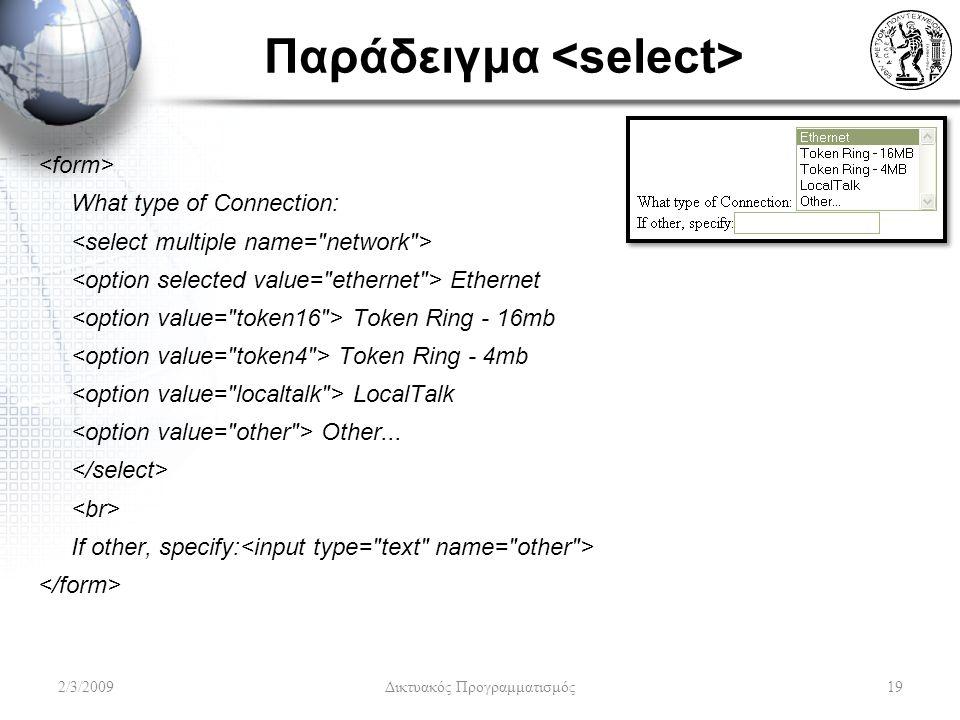 Παράδειγμα What type of Connection: Ethernet Token Ring - 16mb Token Ring - 4mb LocalTalk Other... If other, specify: 2/3/2009Δικτυακός Προγραμματισμό