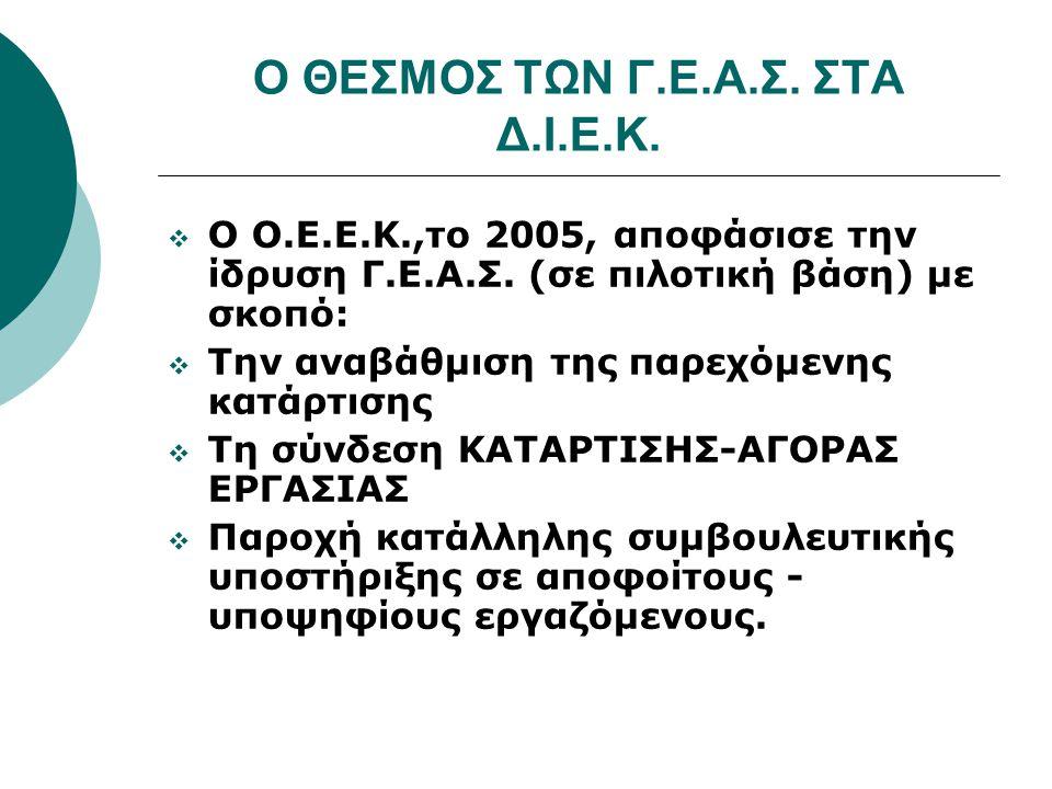 Ο ΘΕΣΜΟΣ ΤΩΝ Γ.Ε.Α.Σ. ΣΤΑ Δ.Ι.Ε.Κ.  Ο Ο.Ε.Ε.Κ.,το 2005, αποφάσισε την ίδρυση Γ.Ε.Α.Σ.