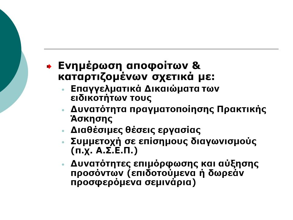 Ενημέρωση αποφοίτων & καταρτιζομένων σχετικά με: Επαγγελματικά Δικαιώματα των ειδικοτήτων τους Δυνατότητα πραγματοποίησης Πρακτικής Άσκησης Διαθέσιμες θέσεις εργασίας Συμμετοχή σε επίσημους διαγωνισμούς (π.χ.