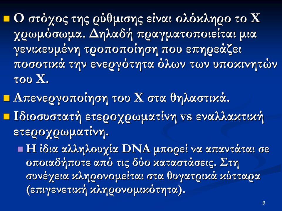 9 Ο στόχος της ρύθμισης είναι ολόκληρο το Χ χρωμόσωμα. Δηλαδή πραγματοποιείται μια γενικευμένη τροποποίηση που επηρεάζει ποσοτικά την ενεργότητα όλων