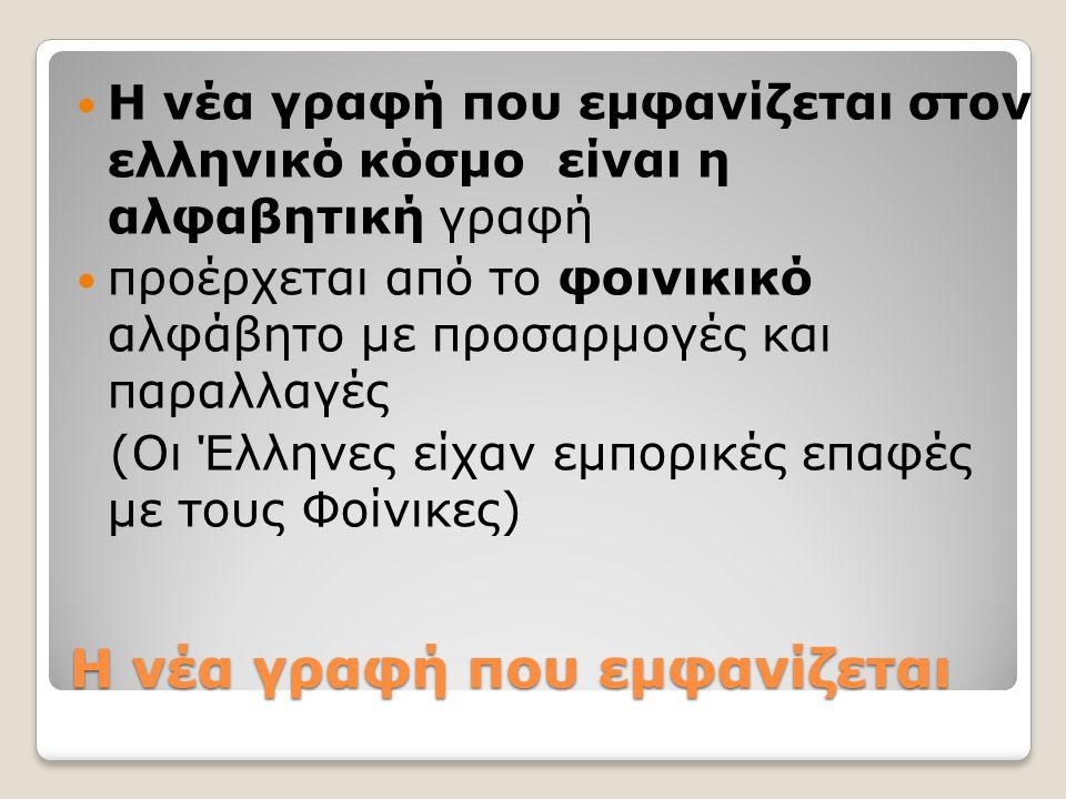 Η νέα γραφή που εμφανίζεται Η νέα γραφή που εμφανίζεται στον ελληνικό κόσμο είναι η αλφαβητική γραφή προέρχεται από το φοινικικό αλφάβητο με προσαρμογ